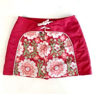 Gap Girls Pink White Floral Board Skirt Cover Up